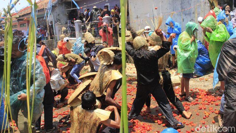 Perang tomat tidak hanya ada di Spanyol, tapi di Kabupaten Bandung Barat juga. Festival ini dapat ditemui di Desa Cikidang. (Yudha/detikcom)