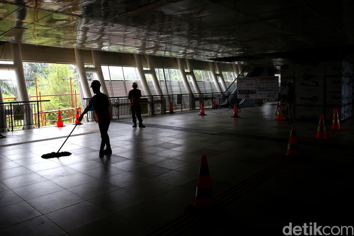 Begini penampakan salah satu sudut Stasiun Harjamukti yang berlokasi di Cibubur, Jawa Barat.