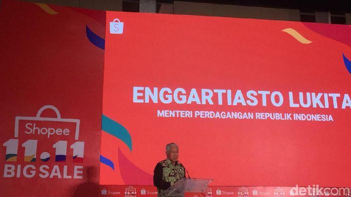 Menteri Perdagangan Enggartiasto Lukita di acara Shopee/Foto: Vadhia Lidyana/detikFinance