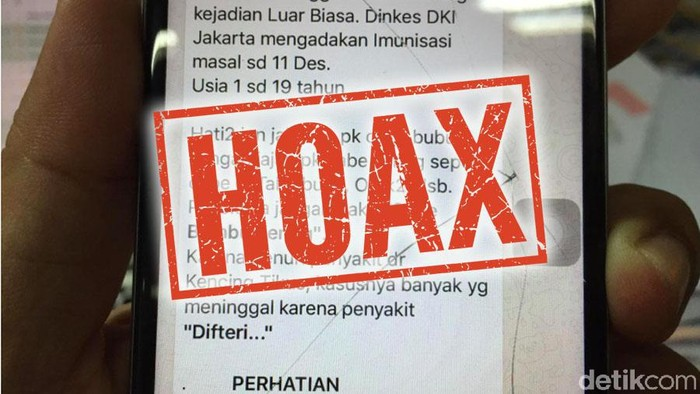 Hoax tentang KLB difteri di Jakarta yang ternyata hoax. (Foto: Uyung/detikHealth)