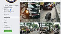 Tabrak Separator Busway, Ban MINI Cooper Ini Sampai Copot