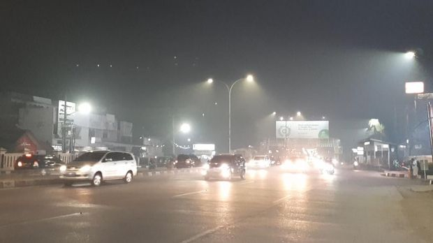 Kabut asap di Palembang.