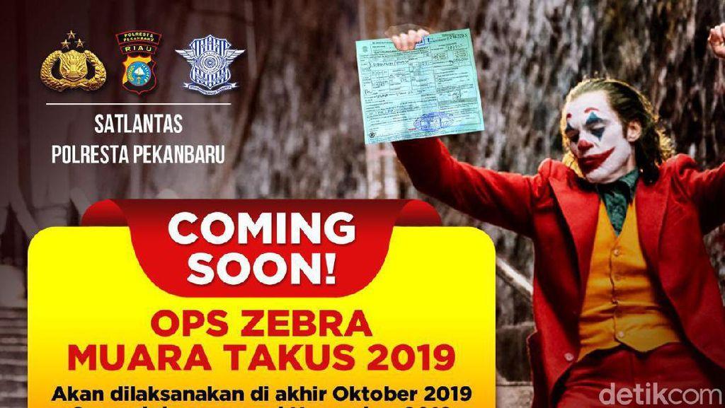 Sosialisasi Operasi Zebra Pakai Poster Joker di Pekanbaru Dinilai Tak Etis