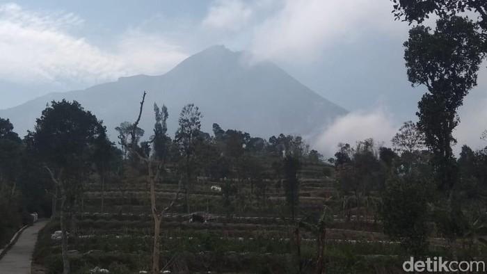 Penampakan puncak Merapi dari Desa Tlogolele, pagi ini. (Eko Susanto/detikcom)