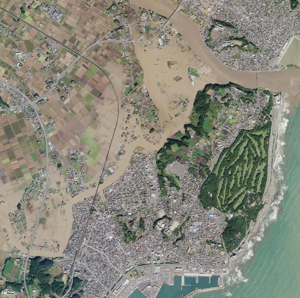 Foto Satelit Banjir Jepang Pasca-Diterjang Topan Hagibis