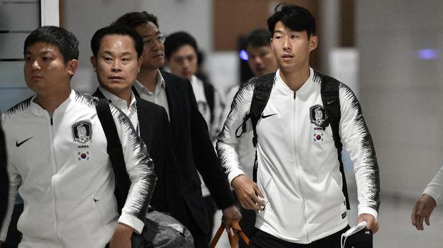 Timnas Korea Selatan tiba di Incheon usai tandang ke markas Korea Utara.