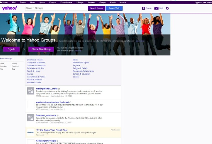 Website Yahoo Groups. Foto: PCMag