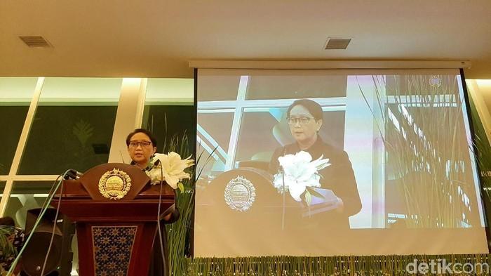 Menlu Retno Marsudi pidato usai Indonesia ditetapkan menjadi Dewan HAM PBB (Lisye SR/detikcom)