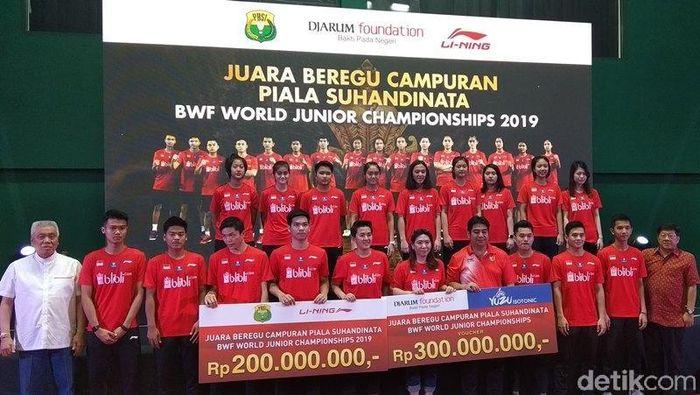 Tim U-19 yang memenangi Kejuaraan Dunia Bulutangkis Junior mendapat bonus Rp 500 juta (Eko Susanto/detikSport)