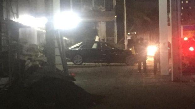 Kendaraan Sultan Brunei memasuki RSPAD.