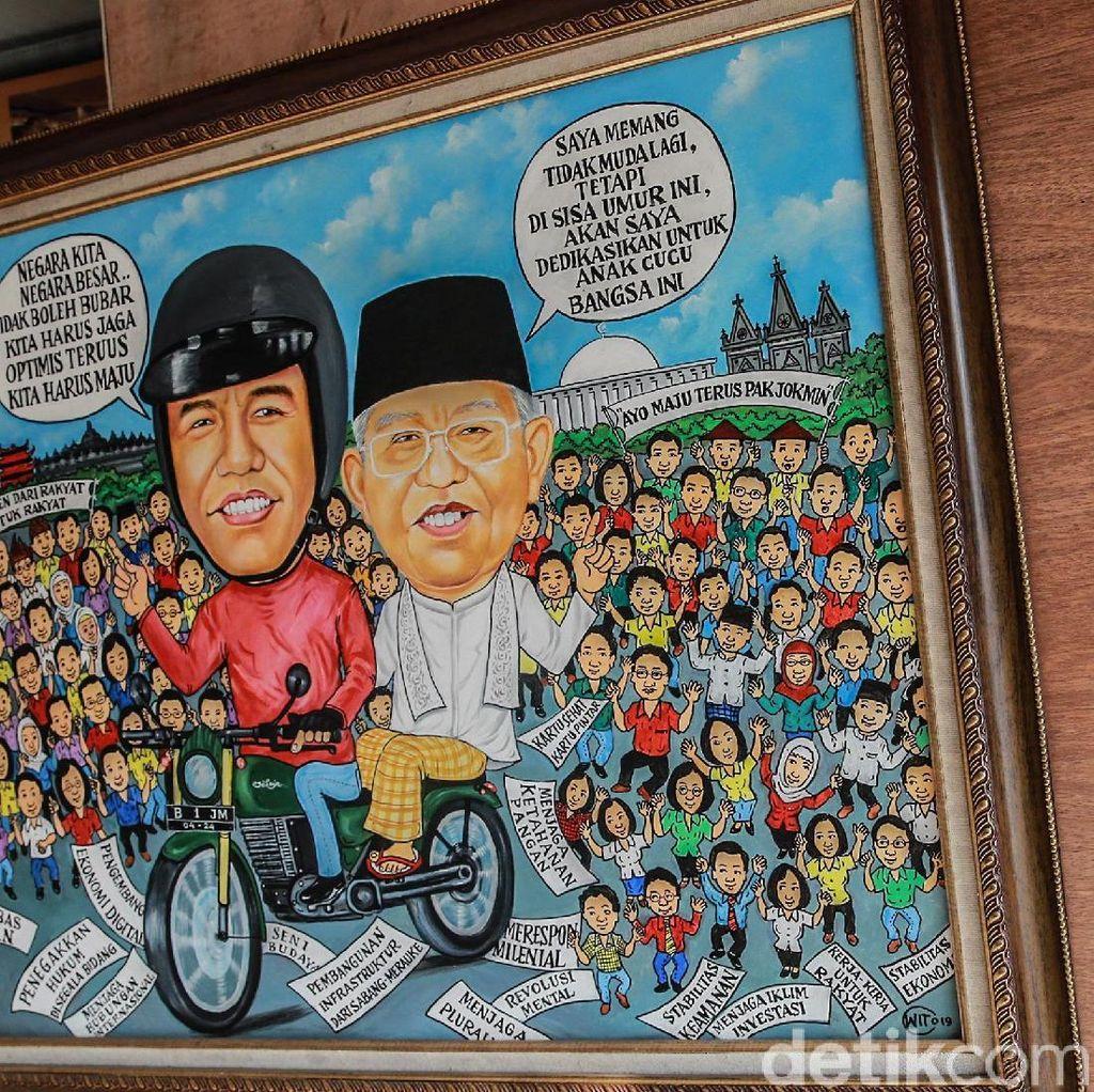 Melihat Lukisan Jokowi-Maruf Jelang Pelantikan Presiden