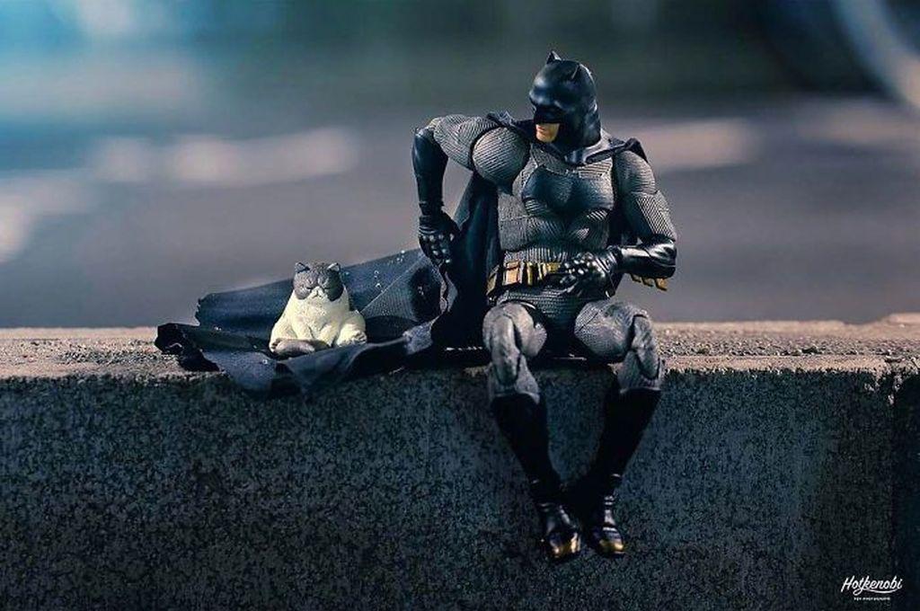 Bernama online hot.kenobi, Instagrammer ini dikenal suka membuat adegan lucu action figure koleksinya. Foto Batman dengan si kucing yang seolah juga menggunakan topeng. (Foto: hot.kenobi)