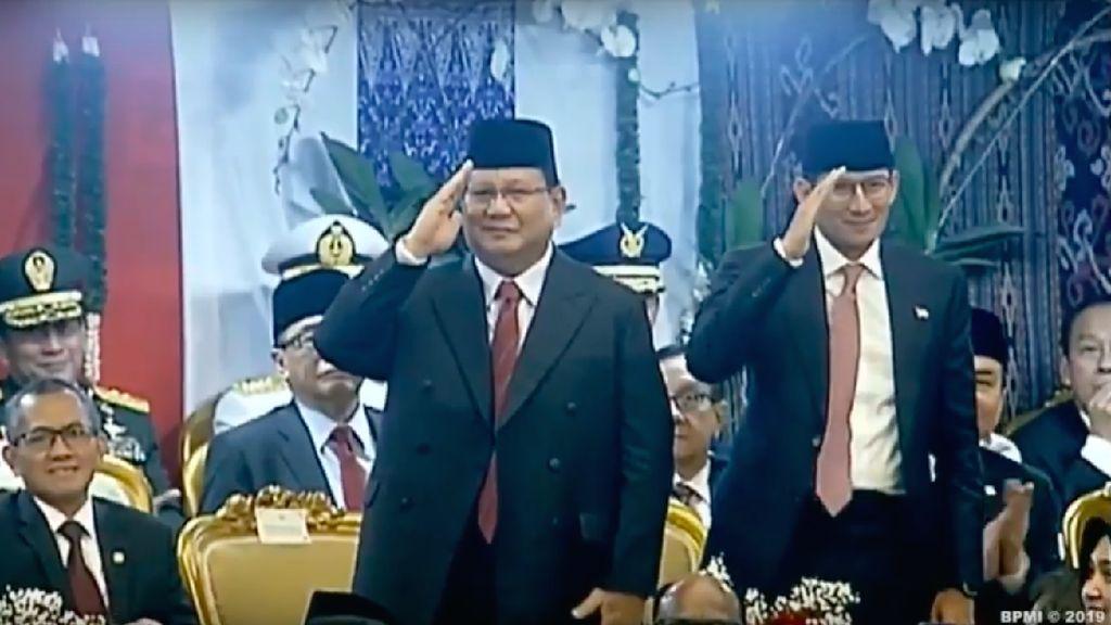 Prabowo-Sandi Beri Ucapan Selamat ke Jokowi-Maruf Usai Pelantikan