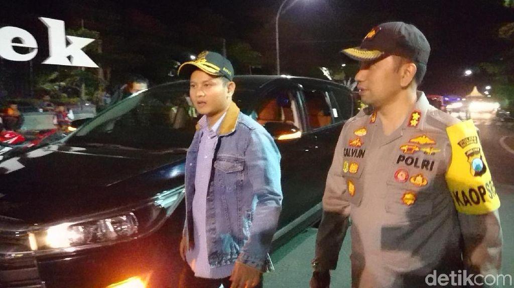 Polisi, TNI ,dan Bupati Trenggalek Patroli Bersama Jelang Pelantikan Presiden