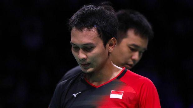 Ahsan/Hendra berhasil mengalahkan Li/Liu di semifinal Hong Kong Open 2019. (