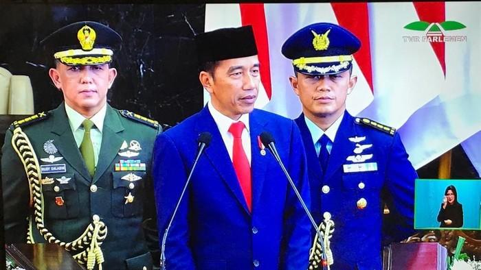 Jokowi menyampaikan pidato usai dilantik jadi Presiden 2019-2024/Foto: Dok. screenshot TV Parlemen