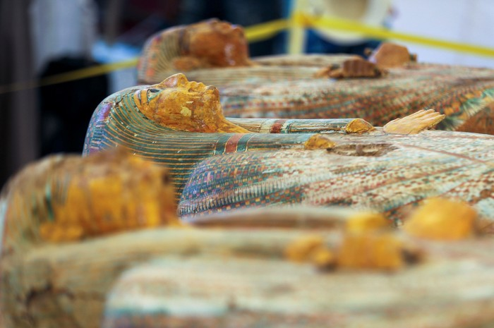 Painted ancient coffins are seen at Al-Asasif necropolis, unveiled by Egyptian antiquities officials in the Valley of the Kings in Luxor, Egypt October 19, 2019. REUTERS/Mohamed Abd El Ghany