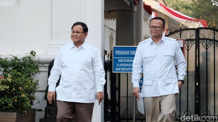 Foto: Prabowo dan Edhy Prabowo usai bertemu Jokowi (Andhika Prasetia/detikcom)