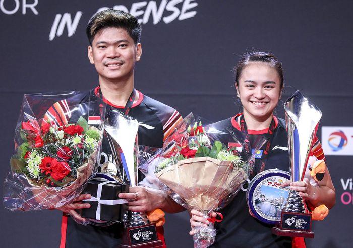Praveen Jordan/Melati Daeva Oktavianti menjadi juara Denmark Open 2019 setelah mengalahkan ganda China, Wang Yilyu/Huang Dongping. (Antara Foto/Humas PP PBSI).