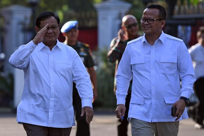 Prabowo Subianto dan Edhy Prabowo dipanggil ke Istana Negara. Foto: Antara Foto/Wahyu Putro A