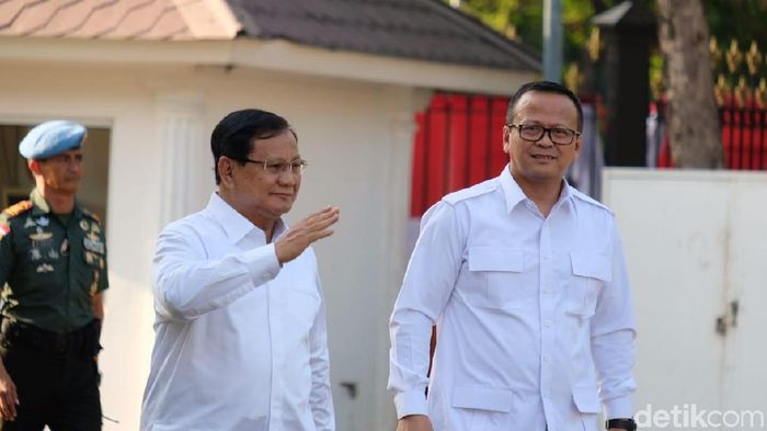 Foto: Prabowo Subianto dan Edhy Prabowo (Andhika Prasetia/detikcom)
