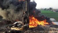 Kebakaran hebat terjadi di Kampung Mancong, Kelurahan Melong, Kecamatan Cimahi Selatan, Kota Cimahi, Jawa Barat, Selasa (22/10/2019).
