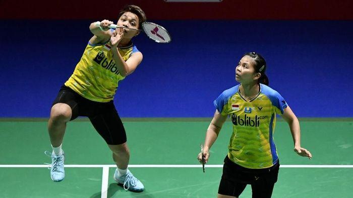 Greysia Polii/Apriyani Rahayu langsung kandas di babak pertama Fuzhou China Open 2019. (Fabrice Coffrini / AFP)