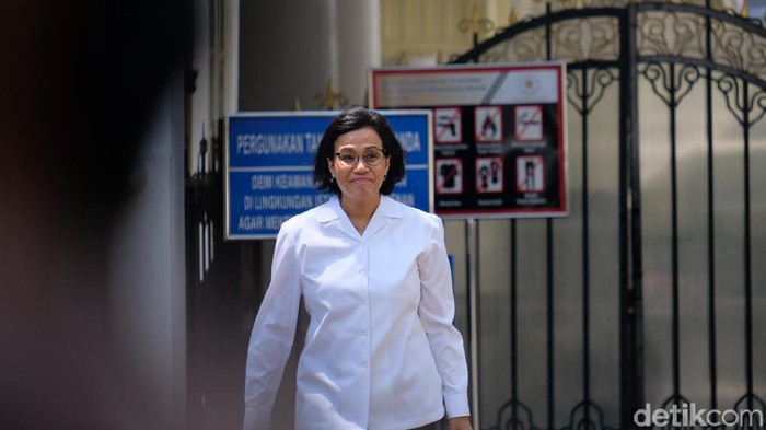Sri Mulyani usai bertemu Jokowi (Andhika Prasetia/detikcom)