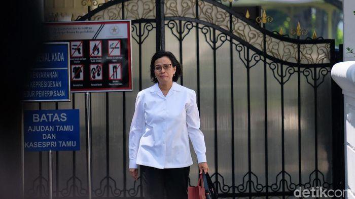 Foto: Sri Mulyani usai bertemu Jokowi (Andhika Prasetia/detikcom)