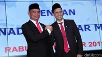 Serah terima jabatan (sertijab) Menteri Pendidikan dan Kebudayaan dari Muhadjir Effendy kepada Nadiem Makarim dilakukan di kantor Kemendikbud, Jakarta, Rabu (23/10/2019).