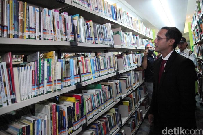 Nadiem Makarim saat sertijab di Kementerian Kemendikbud. Foto: Lamhot Aritonang/detikcom