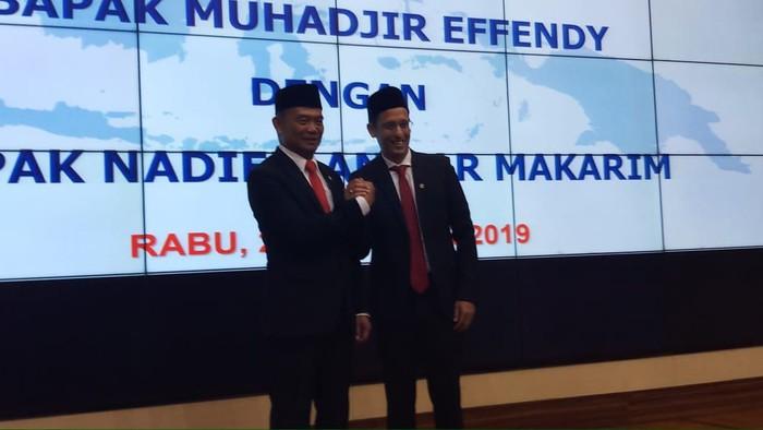 Muhadjir Effendy dan Nadiem Makarim (Farih Maulana/detikcom)