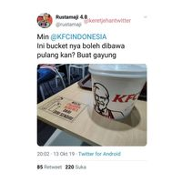 Kocaknya Percakapan Netizen dan Admin Twitter KFC Soal Ember Ayam