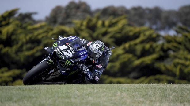 Maverick Vinales terjatuh di lap terakhir Sirkuit Phillip Island MotoGP Australia. (