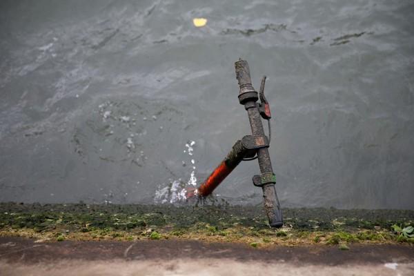 Kenapa bisa ada skuter di dalam sungai? Ini bermula dari ide selusinan perusahan di Paris yang menyewakan sekitar 20.000 skuter. Namun kondisi ini juga memicu kemarahan orang-orang yang marah karena jalan dipenuhi skuter yang diparkir sembarangan. Mereka pun mendorong skuter hingga masuk ke dalam sungai (Pascal Rossignol/Reuters)