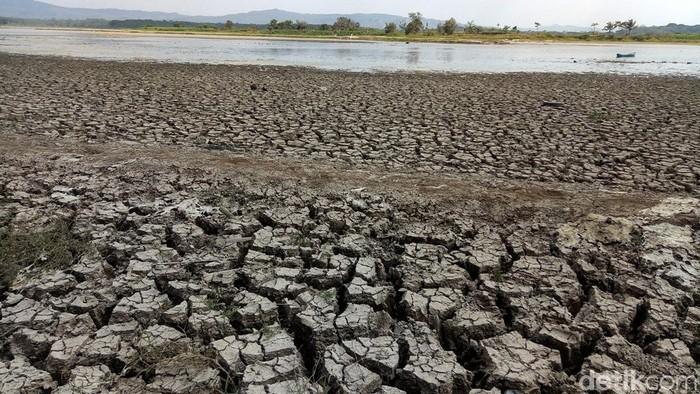 Kondisi air Waduk Mrica di PLTA Jenderal Sudirman, Banjarnegara, Jateng, menyusut drastis saat musim kemarau tahun ini. Beberapa titik di waduk tersebut terlihat berubah menjadi daratan.