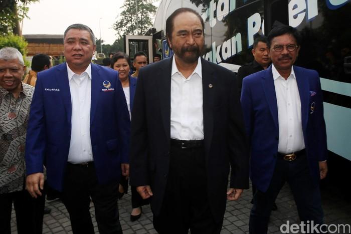 Foto: Surya Paloh dan elite Partai NasDem (Agung Pambudhy/detikcom)