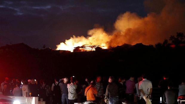 Situasi di sekitar Kastil Shuri yang terbakar di Okinawa, Jepang