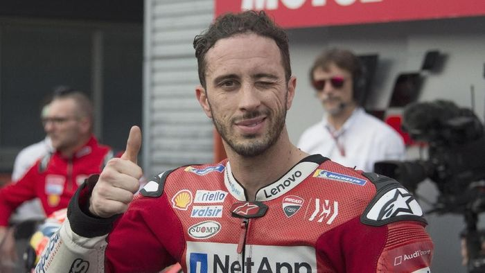 MOTEGI, JAPAN - OCTOBER 20: Andrea Dovizioso of Italy and Ducati Team celebrates the third place at the end of the MotoGP race during the MotoGP of Japan - Race at Twin Ring Motegi on October 20, 2019 in Motegi, Japan. (Photo by Mirco Lazzari gp/Getty Images)