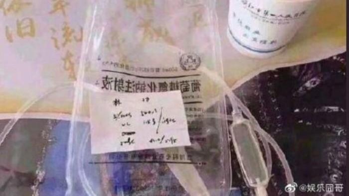 Limbah medis infus bekas seorang penyanyi di China. Foto: BBC/Weibo
