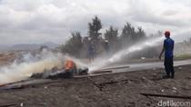 Penertiban Tambak di Selatan Bandara Kulon Progo Diwarnai Bakar Ban