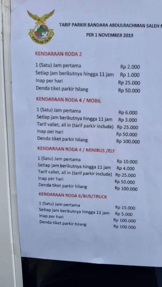Tarif parkir umum di Bandara Malang