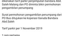 Viral Tarif Parkir Rp 300 Ribu di Bandara Abdulrachman Saleh Malang