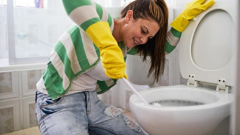 Shot of a young woman cleaning a bathroom toilet