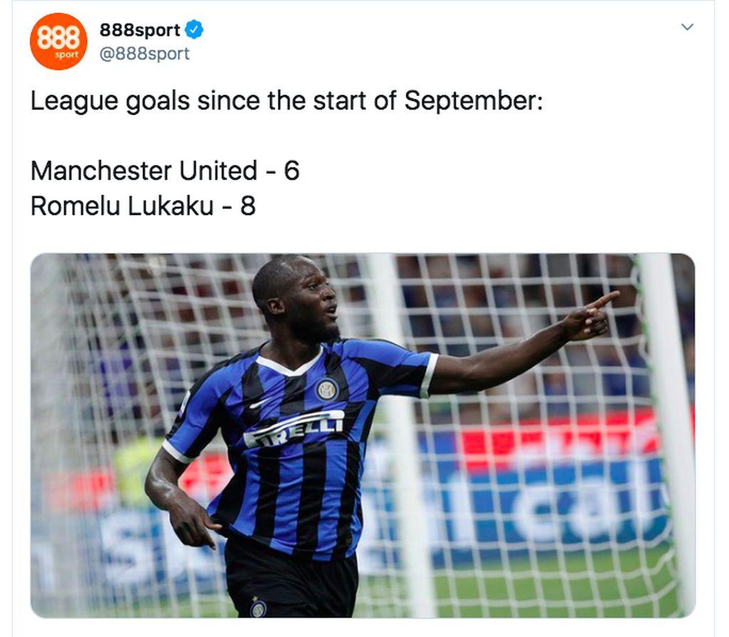 Sejak awal Setember, Romelu Lukaku melesakkan gol lebih banyak dibanding mantan klubnya, Manchester United. Foto: Twitter
