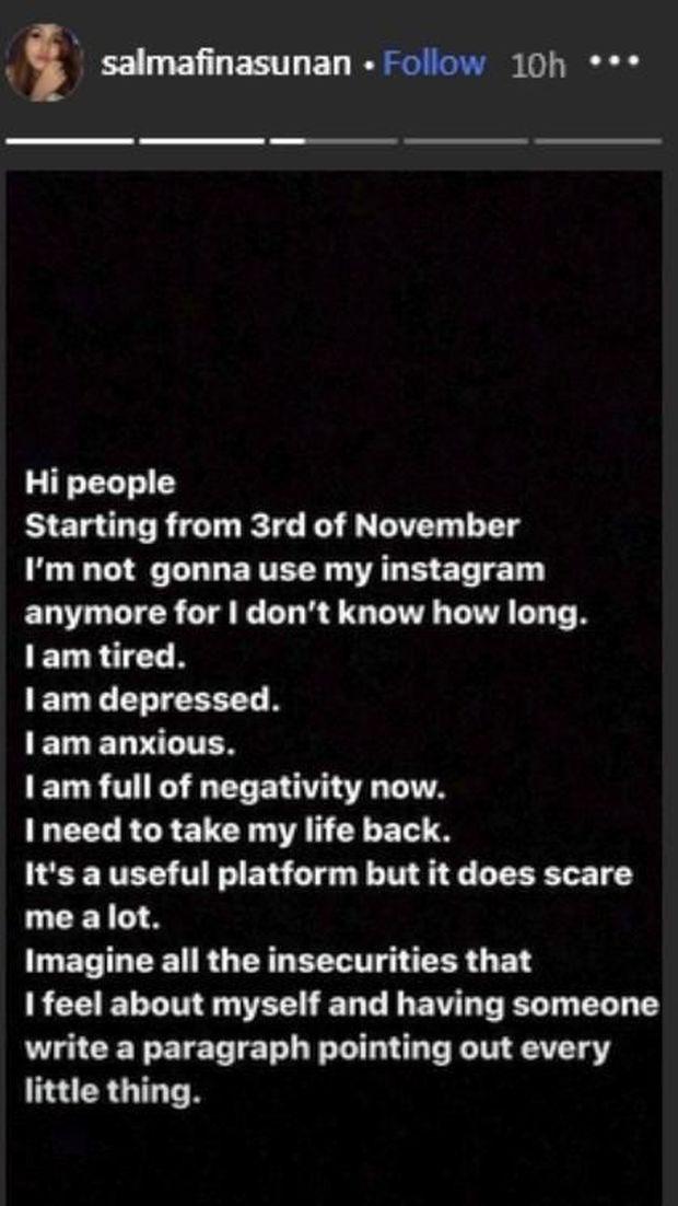 Lelah dan Depresi, Salmafina Sunan Juga Pamit dari Instagram