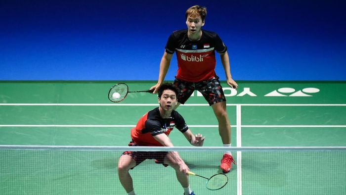 Kevin Sanjaya Sukamuljo/Marcus Fernaldi Gideon menjadi satu-satunya wakil Indonesia di Fuzhou China Open 2019. (Matt Roberts/Getty Images)