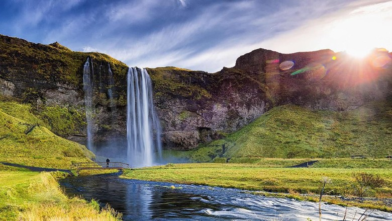 Seljalandfoss from aerial view, Iceland. One of the most beautiful waterfall in Iceland.