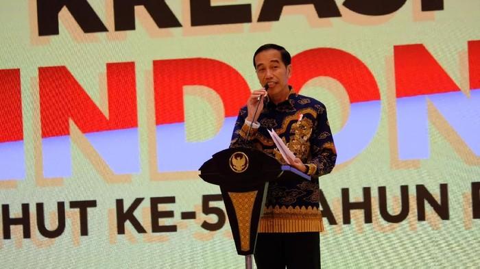 Jokowi di acara HUT Golkar. (Andhika/detikcom)