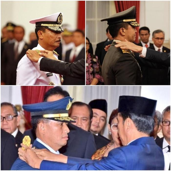 Foto: Para Kepala Staf TNI saat pelantikan. Dari kiri atas KSAL Siwi Sukma (kiri atas), KSAD Andika Perkasa (kanan atas) dan KSAU Yuyu Sutisna (bawah) (detikcom)